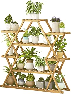 Flower Stand Plant Pot Display Stand Rack Multi Functional Bamboo Storage Shelf Large Capacity Sturdy for Indoor Outdoor Y...