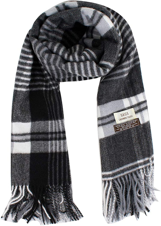 Van Caro Thick Plaid Cashmere Wool Winter Scarf Shawl for Women Men