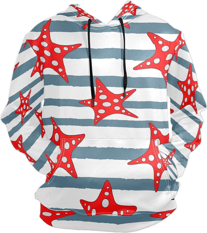 Men's Sport Hoodie Nautical Starfish Sea Blue Striped Big and Tall Hoodies for Men Women Oversized Hooded Sweatshirt Hip Hop Pullover Hoodie Midweight Hood for Boys Girls