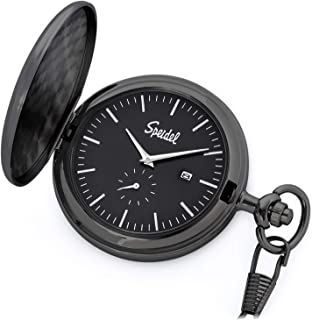 """Speidel Classic Brushed Engravable Pocket Watch with 14"""" Chain, Date Window, Seconds Sub-Dial and Luminous Hands"""