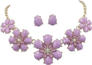 Gypsy Jewels Fun 5 Flower Dot Bib Bubble Rhinestone Gold Tone Statement Necklace Earrings Set