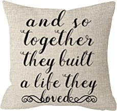 And So Together They Built a Life They Loved Farmhouse Beige Cotton Linen Throw Pillow Case Cushion Cover Square 18 Inches