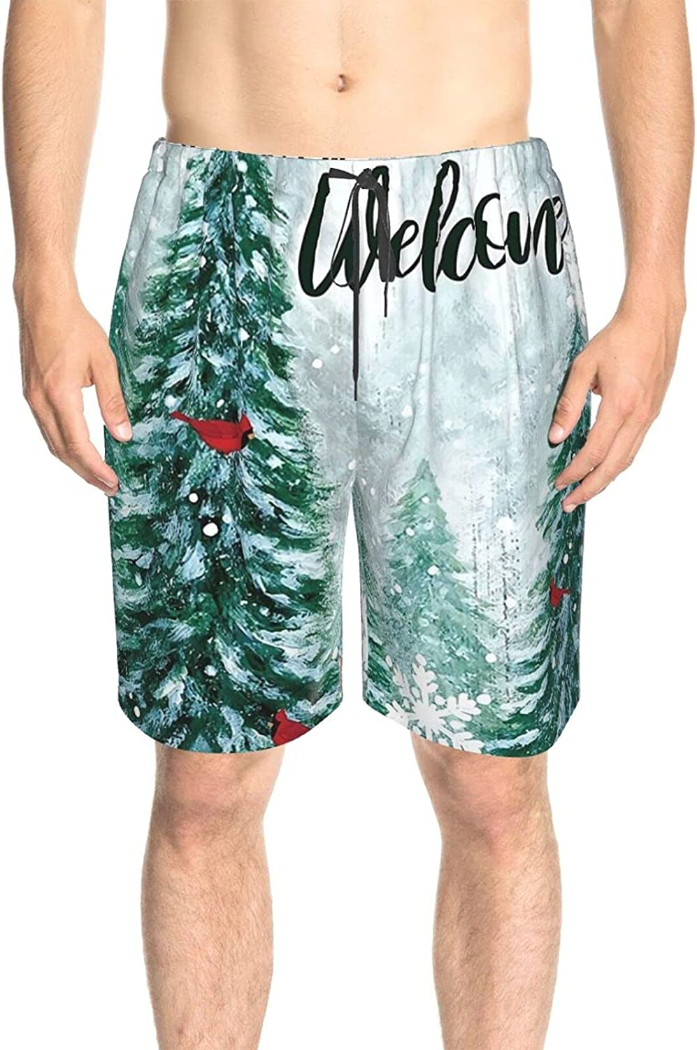 Mens Swim Trunks Winter Welcome and Birds Swim Short Boardshort Drawstring 3D Printed Surfing Board Shorts with Pockets