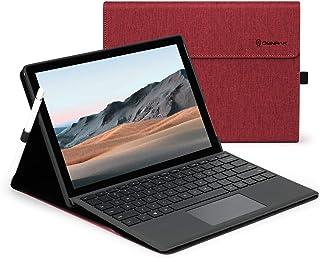 Microsoft Surface GO /2020年発売のSurface Go2 に対応ケース 10.5インチ 表面内蔵保護カバー 多視角 スタンド 軽量 薄型 ペンホルダー付き PU スマート カバー ローズレッド