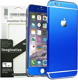 Toeoe 6/6s (4.7'') High-strength and Super-thin Tough Metallic Film Sticker Full Body Protector Skin + Ultra Clear Front Screen Protector for iPhone 6/6s Blue