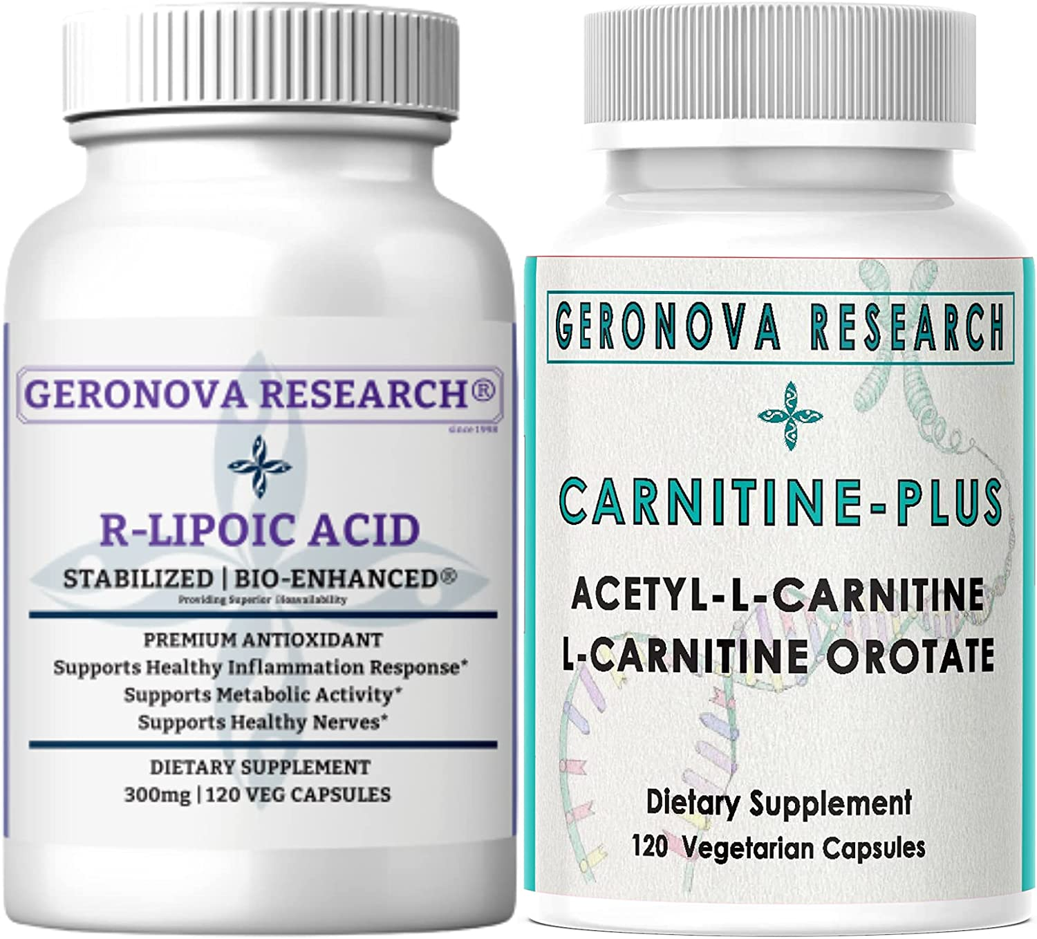 GeroNova Research Stabilized R-Lipoic Acid Max 46% OFF Caps Carn New Orleans Mall 300mg 120