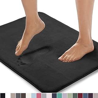 Gorilla Grip Original Thick Memory Foam Bath Rug, 60x24, Cushioned, Soft Floor Mats, Absorbent Premium Bathroom Mat Rugs, Machine Washable, Luxury Plush Comfortable Carpet for Bath Room, Black