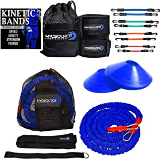 Kinetic Bands 360 Acceleration Speed Agility Kit - Leg Resistance Bands, Bungee Speed Cord, Quick Feet Training Cones - Football, Soccer, Basketball, Baseball, Softball Training Equipment