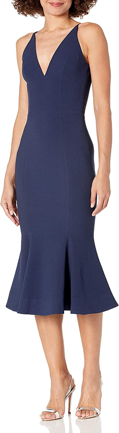 Dress the Population Women's Isabelle Plunging Spaghetti Strap Mermaid Fitted Midi Dress, Navy, S