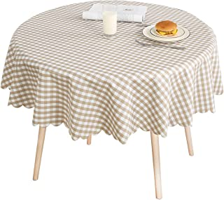 LOHASCASA Round Oilcloth Tablecloth Waterproof PVC Plastic Wipeable Spillproof No-Iron Peva Heavy Duty Farmhouse Tablecloth for Coffee Table Plaid 54 Inch