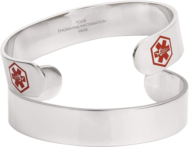 LinnaLove Stainless Steel Black Medical Alert id Cuff Bracelet Bangle for Men and Women