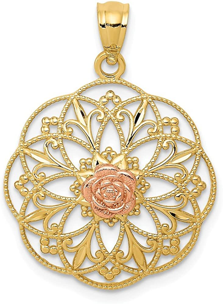 14k Yellow Rose In Round Filigree F Fancy Limited price Super beauty product restock quality top Pendant Necklace Charm