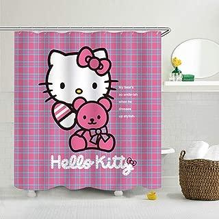 CdHBH Hello Kitty Home Hotel Bathroom Decoration Waterproof Environmentally Friendly Care Shower Curtain Curtain Polyester Fabric 71x71 Inch