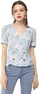 Allegra K Women's Vintage Floral Puff Sleeve Button Decor V Neck Wrap Chiffon Peplum Top