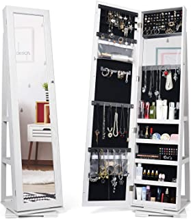 Titan Mall Jewelry Organizer Standing Jewelry Armoire with Mirror 360 Rotating Jewelry Cabinet Full Length Mirror Wall Mounted Jewelry Organizer 2019 Upgrade