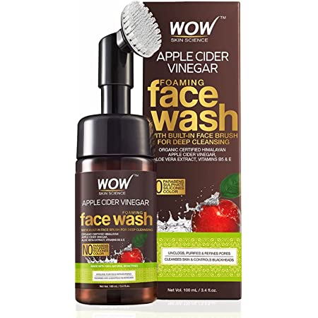 WOW Skin Science Apple Cider Vinegar Foaming Face Wash - with Organic Certified Himalayan Apple Cider Vinegar - No Parabens, Sulphate, Silicones & Color (with Built-in Brush) - 150mL