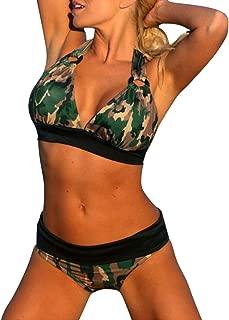 Camouflage Halter Bikini Strappy Deep V Swimsuit Bathing Suit Lace Up Top Push Up Padded Bra+Panties Set