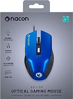 NACON GM-105 mus USB optisk 2400 DPI vänster hand – mus (vänster sida, optisk USB, 2400 DPI, svart, blå)