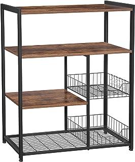 VASAGLE ALINRU Kitchen Baker�s Rack, Industrial Kitchen Shelf with 2 Mesh Baskets and 6 Hooks, Microwave Oven Stand, Rustic Brown UKKS96X