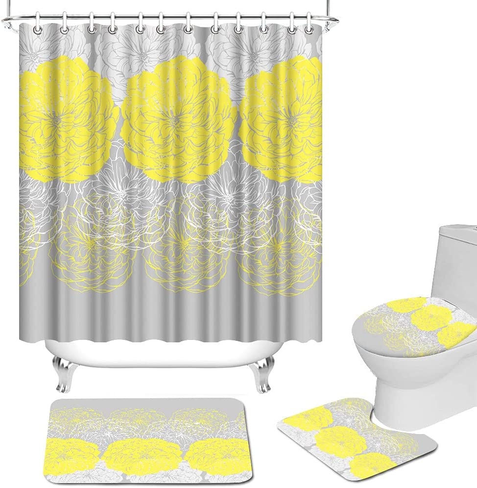 RnnJoile Yellow Flower Shower 1 year warranty Curtain Abstract Yell with Set Rug Max 72% OFF