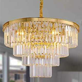 Meelighting Gold Plated Crystal Modern Contemporary Chandeliers Pendant Ceiling Light 4-Tier Chandelier Lighting for Dining Room Living Room Bedroom Girls Room Dia 23.6
