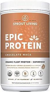 Epic Protein, Organic Plant Protein + Superfoods, Chocolate Maca | 19 Grams Vegan Protein, Gluten Free, No Gums, No Flavor...