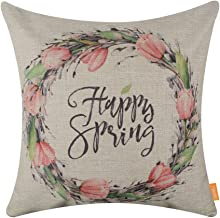 LINKWELL 18x18 Season Decoration Holiday Easter Happy Spring Wreath Burlap Pillow Cover Cushion Cover CC1395
