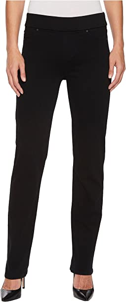 Jillian Straight Pull-On in Premium Super Stretch Denim in Black Rinse