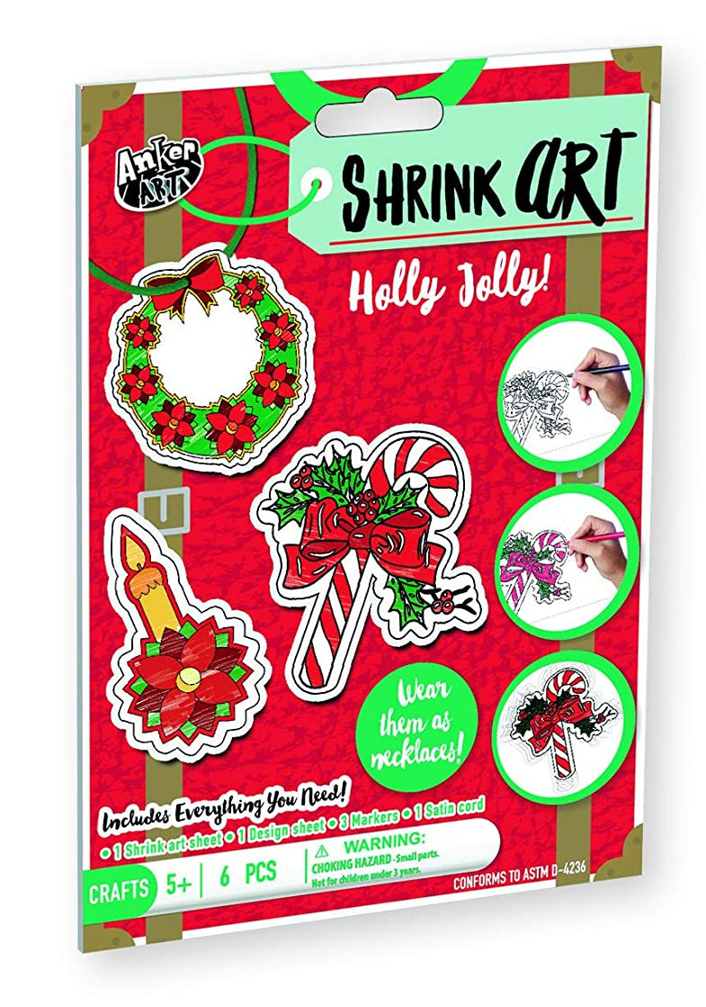 Shrink Art for Christmas DIY Easy Craft Activity Kit for Kids Best Stocking Stuffer or Gift Idea for Holidays! Make Xmas Ornaments, Keychains or Necklace (Holly Jolly)