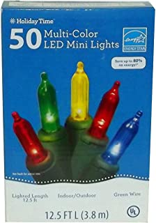 Holiday Time Set of 50 Multi-color LED Mini Lights, Green Wire Lighted Length 12.5 Ft.