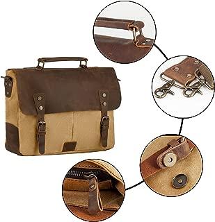 P.KU.VDSL 6807 Messenge Bag, Men's Vintage Genuine Leather Laptop Bags, Canvas Handbag Briefcase Satchel Shoulder Bag Fits 14 inch Laptop