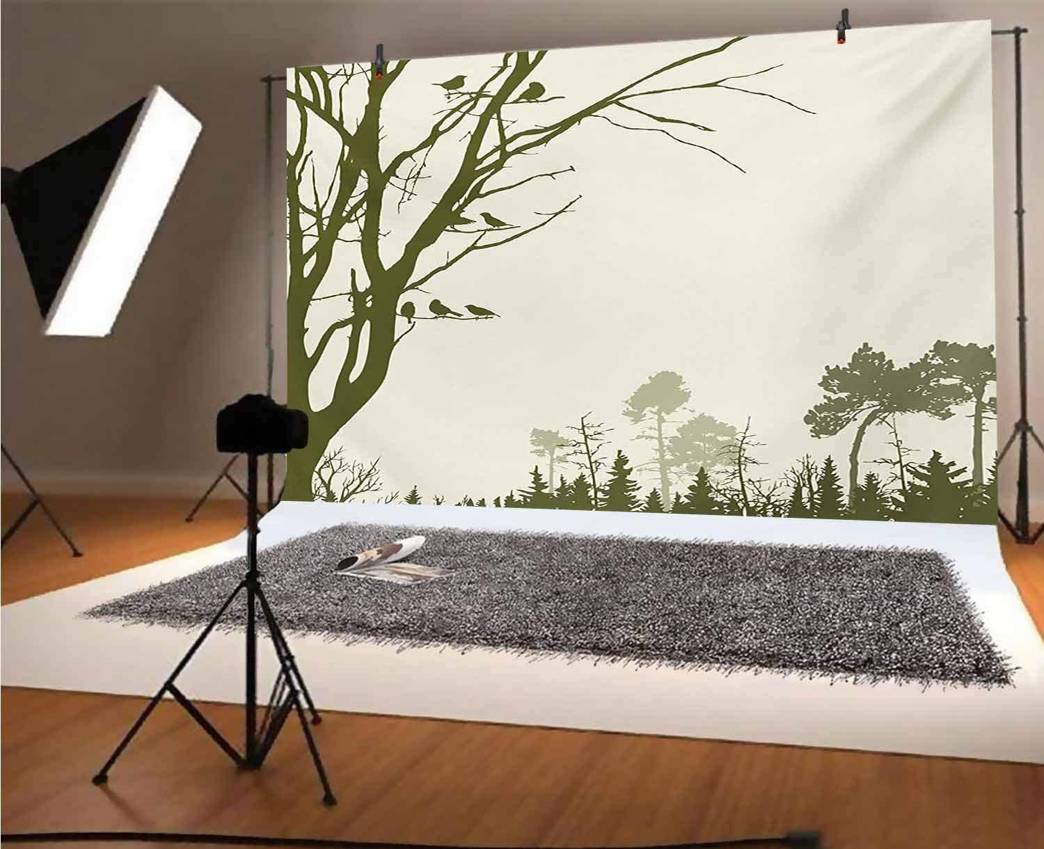 Mountain 15x10 FT Vinyl Backdrop PhotographersWinding Path into The Pine Tree Forest Meadows and Mountain Scenery Print Background for Baby Birthday Party Wedding Graduation Home Decoration