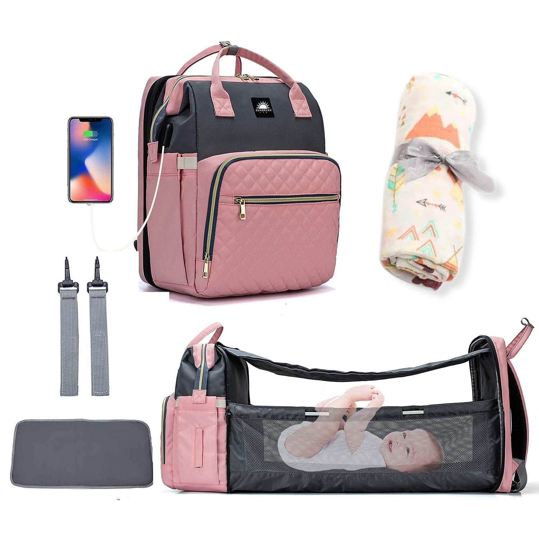 Diaper Bag Backpack (Pink/Grey) with Muslin Swaddle Blanket Bundle - 5 in 1 Multi-Functional Diaper Bag, Portable Changing Station, USB Port, Large Capacity, Comfort pad Plus Shoulder Straps