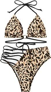 SweatyRocks Women's Sexy Swimwear Cut Out Halter Top Leoprad Print High Waist Bottom Bikini Set