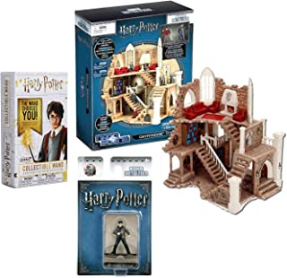 Jada Hogwarts Comes to Life Mini Figure Gryffindor Tower Scene 3 Metal Nano Figures Harry Potter Bundled with Collectible Wand Blind Box Die-Cast 3 Items