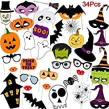 Halloween Photo Booth Props Kit, 34 Pieces DIY Vintage Scary Party Supplies with Vampire Skull Witch Photography Decoration Kit for Kids Adults Dress Up Accessories Costumes Props