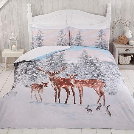 Sleepdown Stag Family Xmas Christmas Winter Animals Festive Scene White Grey Snowflakes Reversible Duvet Cover Quilt Bedding Set with Pillowcases Easy Care - King (220cm x 230cm)