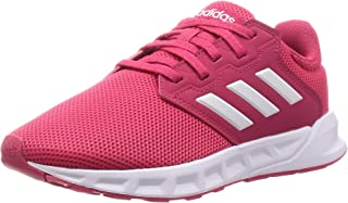 Adidas Showtheway Mesh Contrast Side Stripe Lace-up Running Sneakers for Women - Power Pink and Ftwr White, 39 1/3