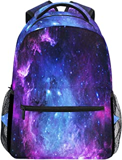 Purple and Blue Galaxy Laptop Backpack, Nebula Star Water Resistant College Students Bookbags Elementary School Bags Travel Computer Notebooks Daypack Bookbag for Men Women Kids Boys Girls