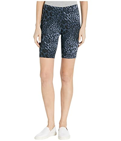 HUE Wavy Leopard Cotton High-Waist Bike Shorts (Blue Leopard) Women