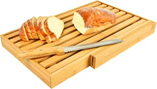 Large Bamboo bread slicer with bread knife, crumb catcher/tray to cut homemade bread, loaf cake and bagel,bread cutting board