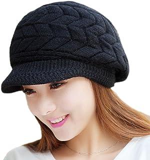 Aisa Womens Fashion Winter Warm Knit Hat Woolen Snow Ski Caps with Visor