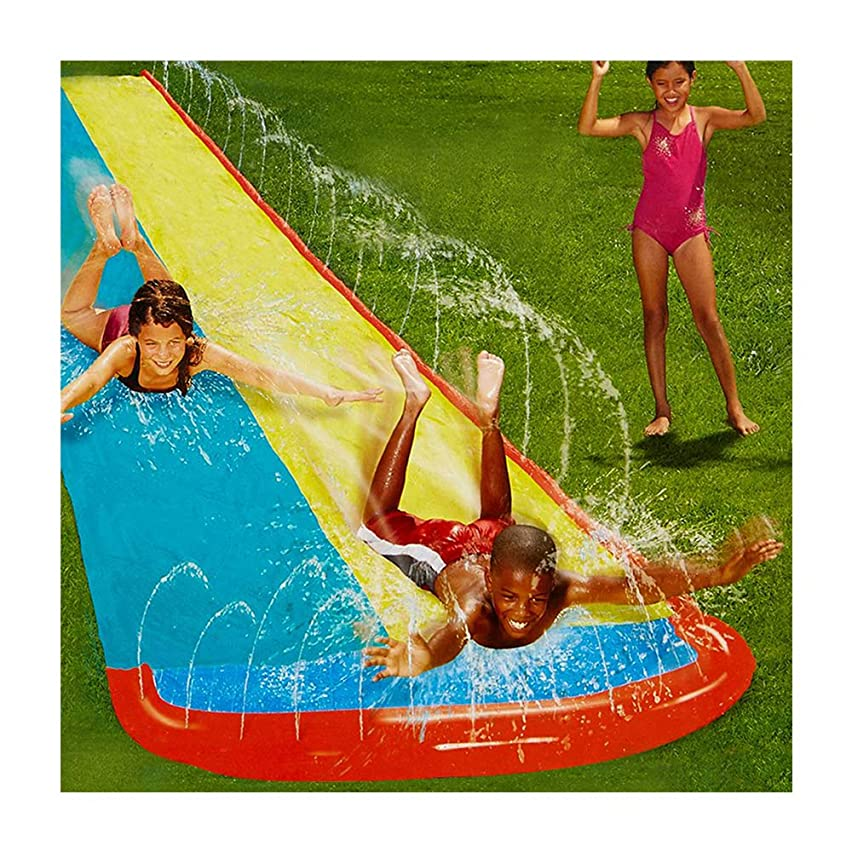 Giant Lawn Water Slide Inflatable 16ft Silp Slide Play Center Slide Water Spraying and Crash Pad For Kids Children Summer Backyard Swimming Pool Games Outdoor Toys with Bumper Double Slide