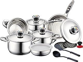 Herzberg Cooking 50093665 Batterie de Cuisine-lot Induction poele Set de casseroles 16 pièces en INOX-Tous Feux-Herzberg H...