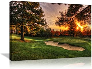 AMEMNY Canvas Modern Wall Art Golf Course Backgrounds Painting Posters and Artwork HD Prints Pictures Decor for Living Room Framed Stretched Ready to Hang(36''Wx24''H)