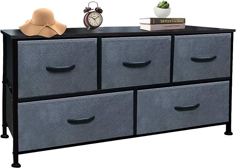 Vertical Dresser Storage Tower Wood Top Easy Pull Fabric Bins 4 Drawers 5 Dark Gray Drawer Organizer