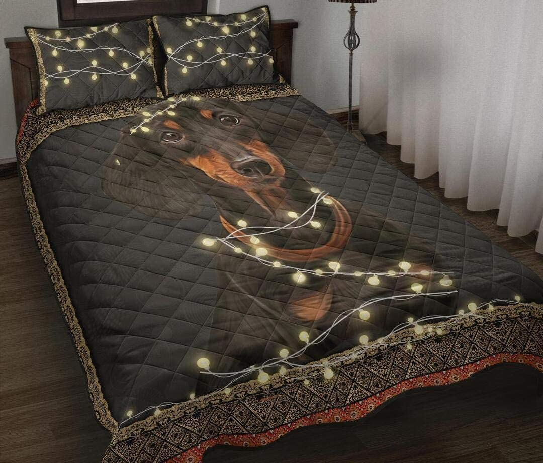Personalized Cute Black Dachshund Dog Queen King Limited price Quilt in Light Luxury goods