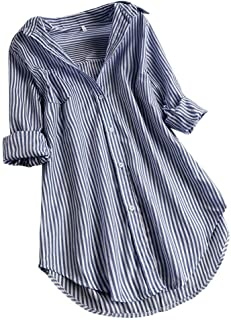 Women Tops, Women's Button Down Loose Tunic Pullover Roll Sleeve Striped T-Shirt Summer Plus Size Blouse Tee