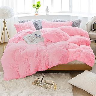 JOYPOINT Plush Shaggy Longfur Duvet Cover Set Luxury Ultra Soft (Pink, Queen)