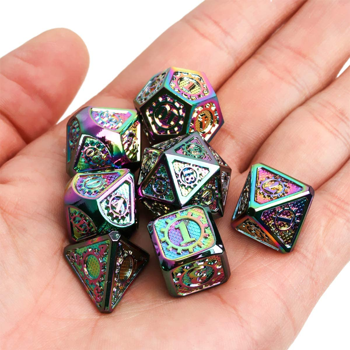 Shadowrun Acient Silver Metal DND Dice Set Pathfinder 11PCS D/&D Metal Dice with Metal Case for Dungeons and Dragons Savage World and Table Games
